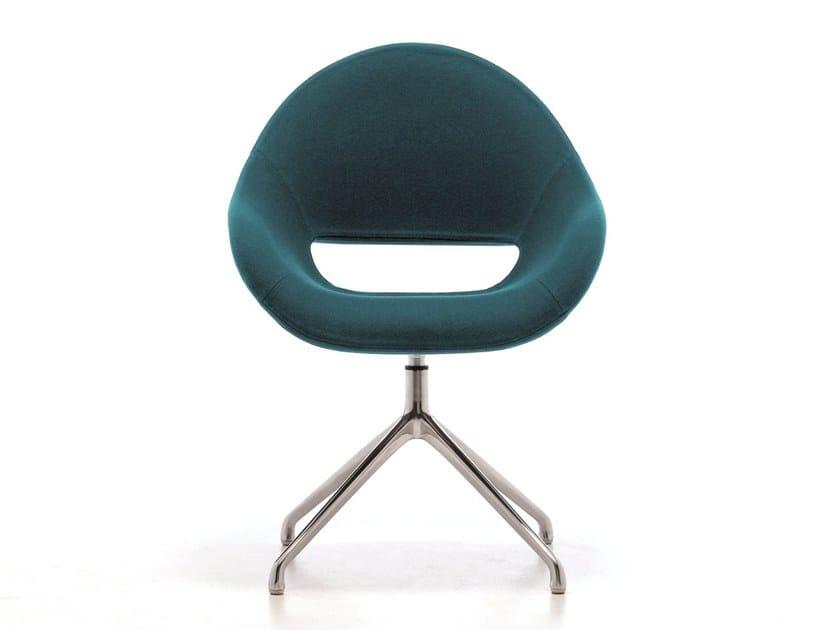 Swivel upholstered trestle-based chair PALM SP by arrmet