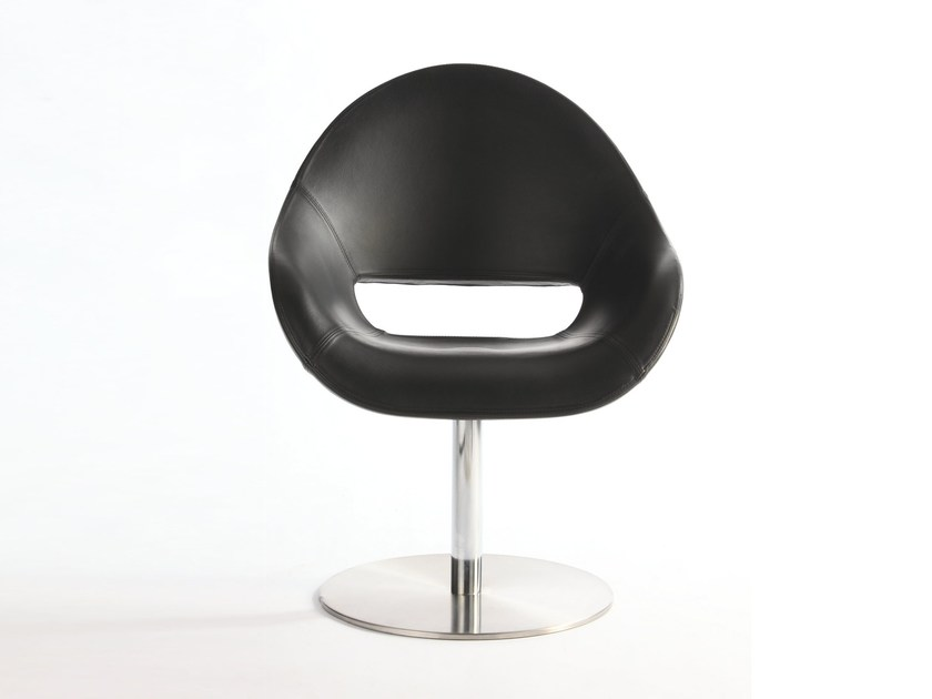Swivel upholstered leather chair PALM SW by arrmet