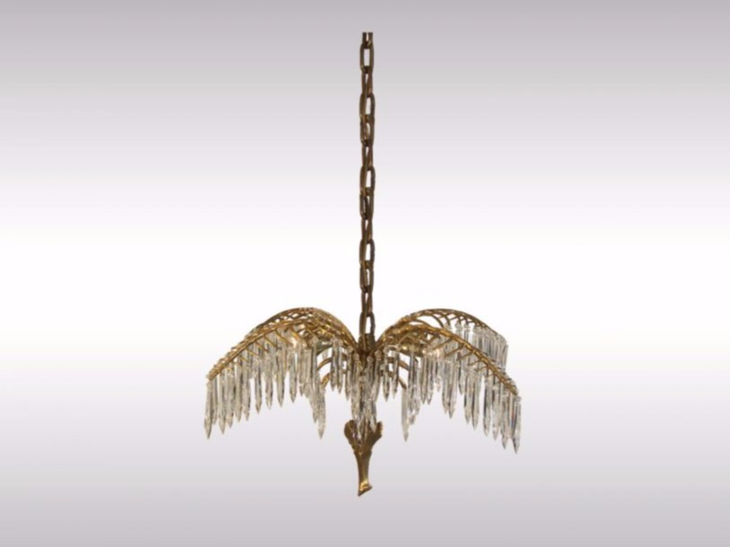 Crystal and brass chandelier PALME HARRODS by Woka Lamps Vienna