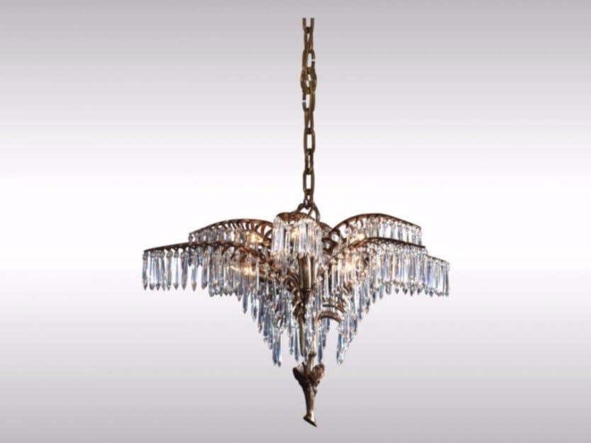 Classic style brass pendant lamp PALME KOBE by Woka Lamps Vienna