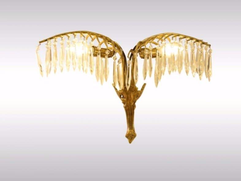 Brass wall lamp PALME-WALA by Woka Lamps Vienna
