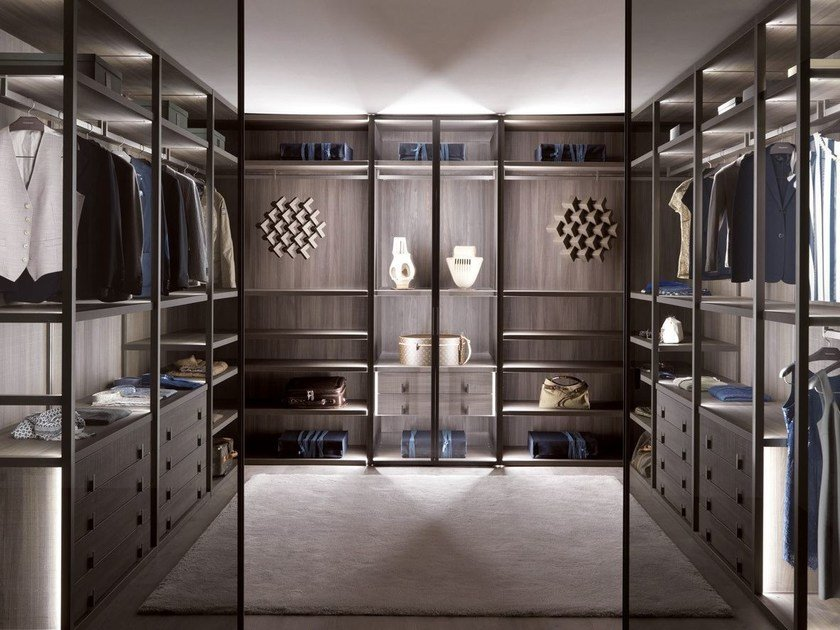 Corner Custom Wood And Glass Walk In Wardrobe PALO ALTO | Wood And Glass  Walk