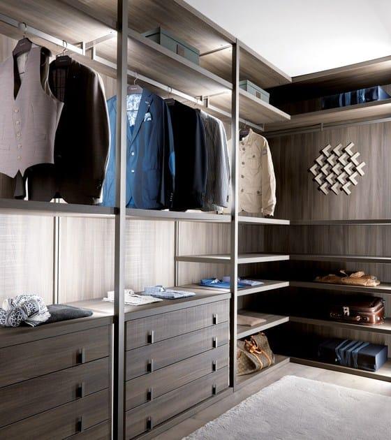 Cabina armadio angolare in legno e vetro su misura PALO ALTO ...
