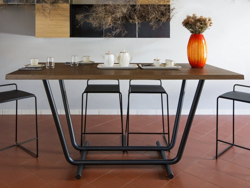 Steel and wood high table PALOALTO | High table by ALMA DESIGN