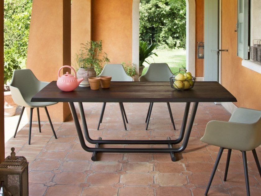 Steel and wood table PALOALTO   Table by ALMA DESIGN