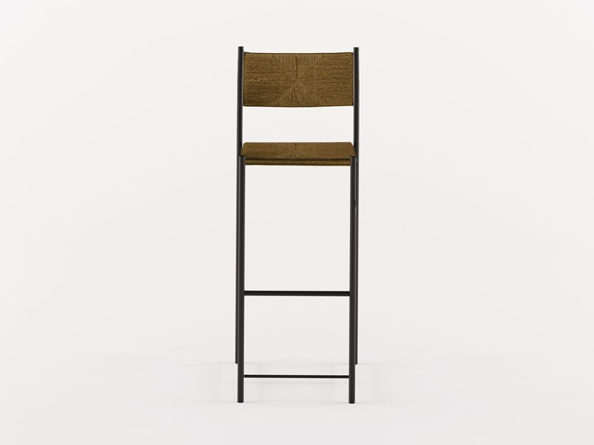 Straw chair with footrest PALUDIS STOOL - 152 by Alias