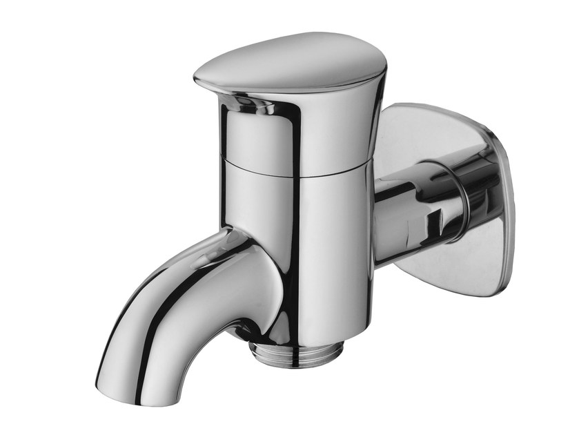 Wall-mounted single handle chromed brass washbasin mixer PAN II | Wall-mounted washbasin mixer by JUSTIME