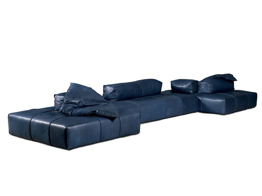 Sectional leather garden sofa PANAMA BOLD OUTDOOR by BAXTER