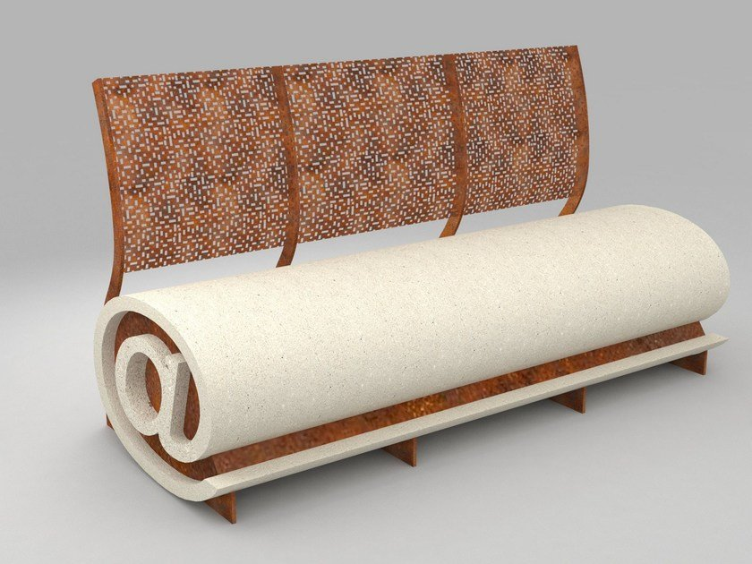 Reconstructed stone Bench with back PANCHIN@ 1.0 by Manufatti Viscio