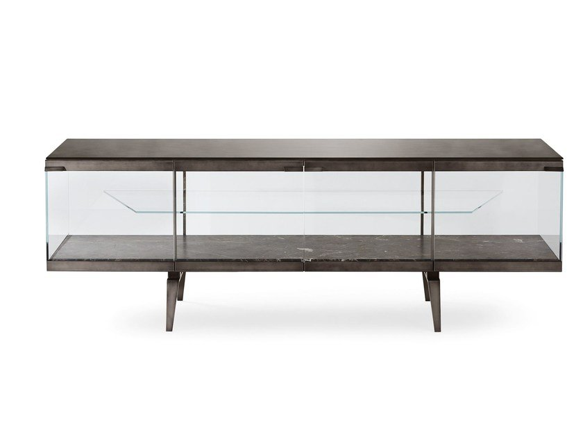 Tempered glass sideboard with doors PANDORA LIGHT by Gallotti&Radice