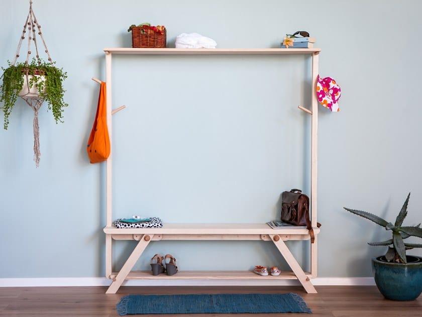 Solid wood bench / hallway unit PANKA by Xilolab