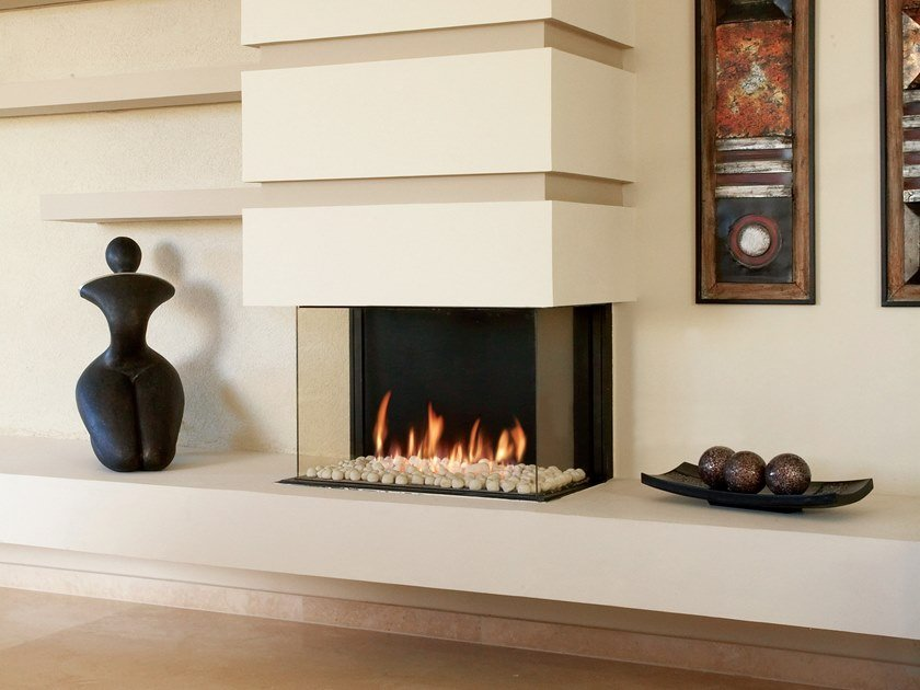 Gas 3-sided built-in fireplace PANORAMA 75 by BRITISH FIRES