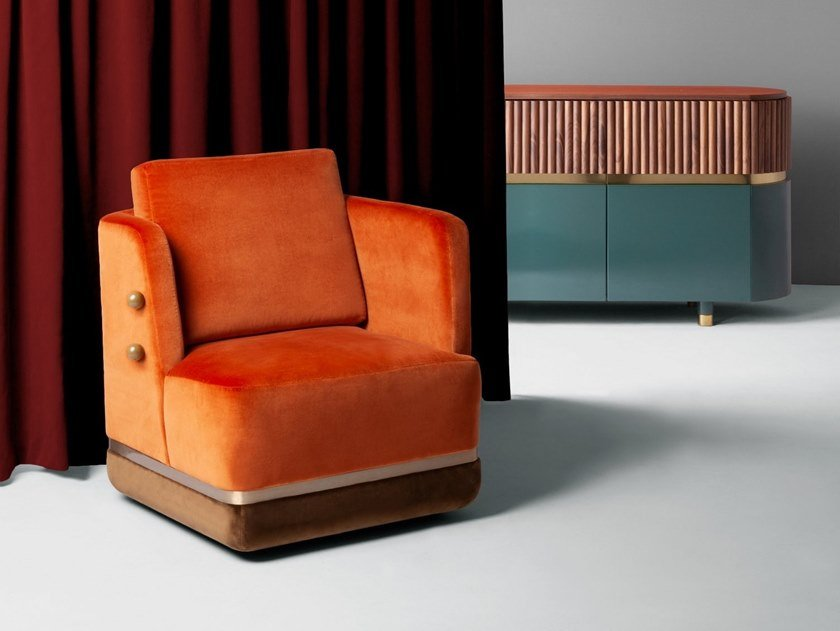 Velvet armchair PANORAMA by DOOQ