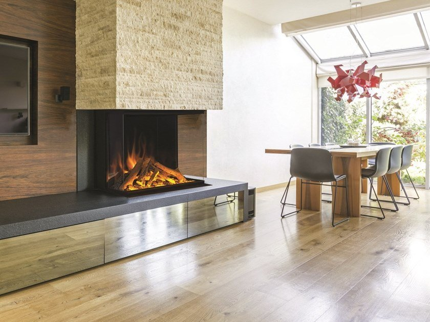 3-sided electric glass fireplace with remote control PANORAMA GF3 800 by BRITISH FIRES