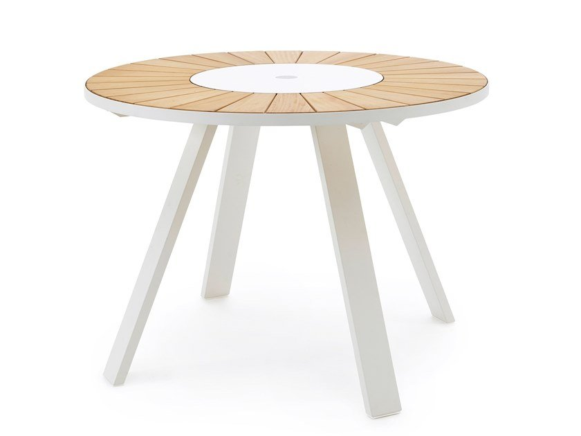 Iroko high table with Lazy Susan PANTAGRUEL | High table by Extremis