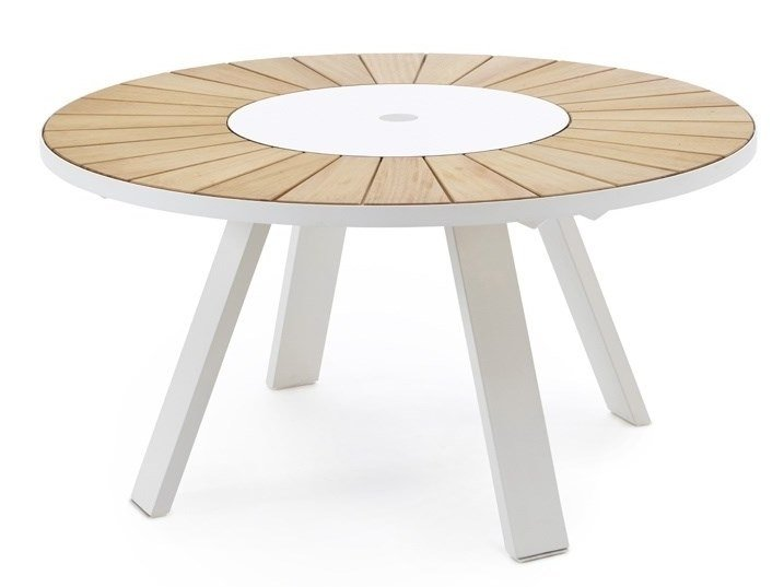 Round iroko garden table with Lazy Susan PANTAGRUEL | Table by Extremis