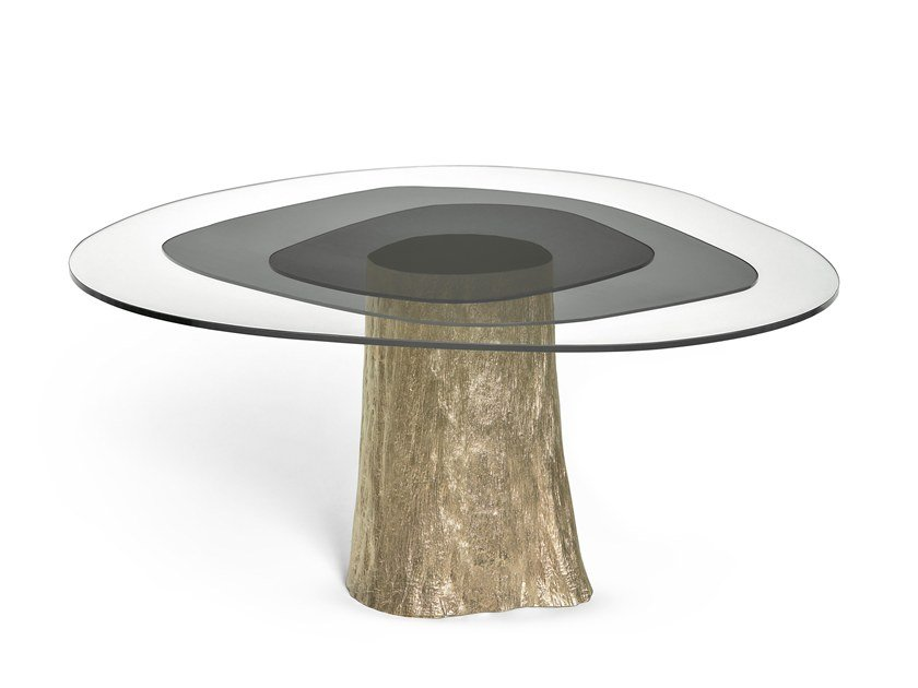 Round wood and glass dining table PANTANO by Ginger & Jagger