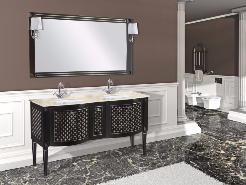 Double vanity unit with drawers with mirror PANTELLERIA CM21DC by LA BUSSOLA