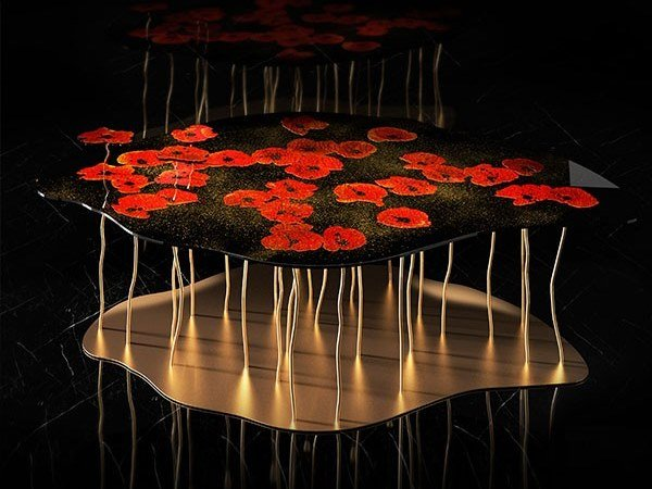 Glass table PAPAVERI by Unica by Tecnotelai