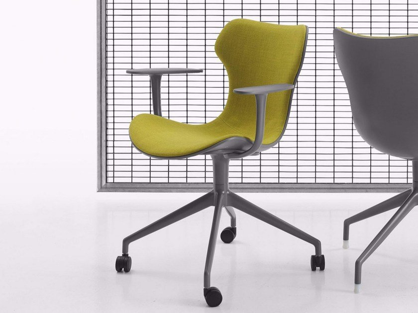 Fabric task chair with 4-Spoke base with armrests with casters PAPILIO SHELL | Task chair with casters by B&B Italia