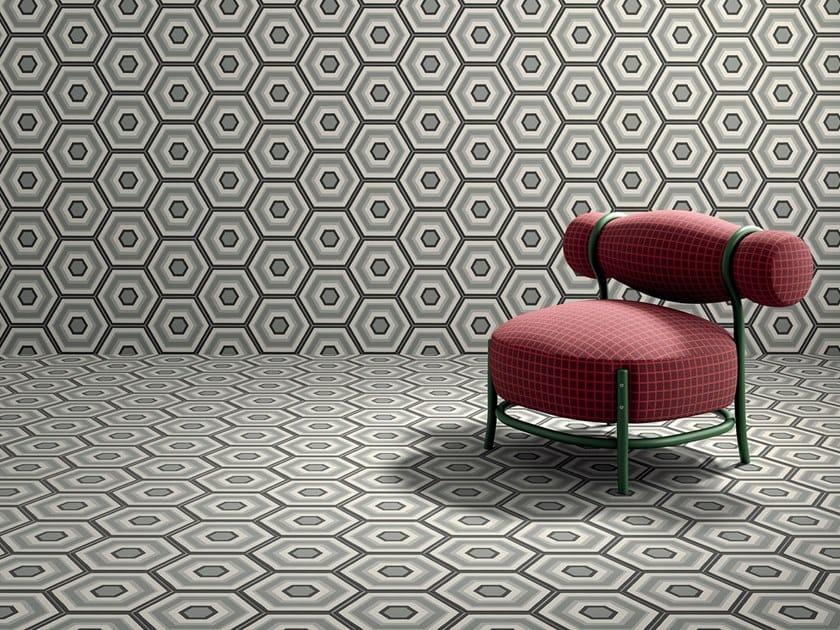 Pavimento/rivestimento in gres porcellanato effetto cementine PAPRICA P1 by Marca Corona