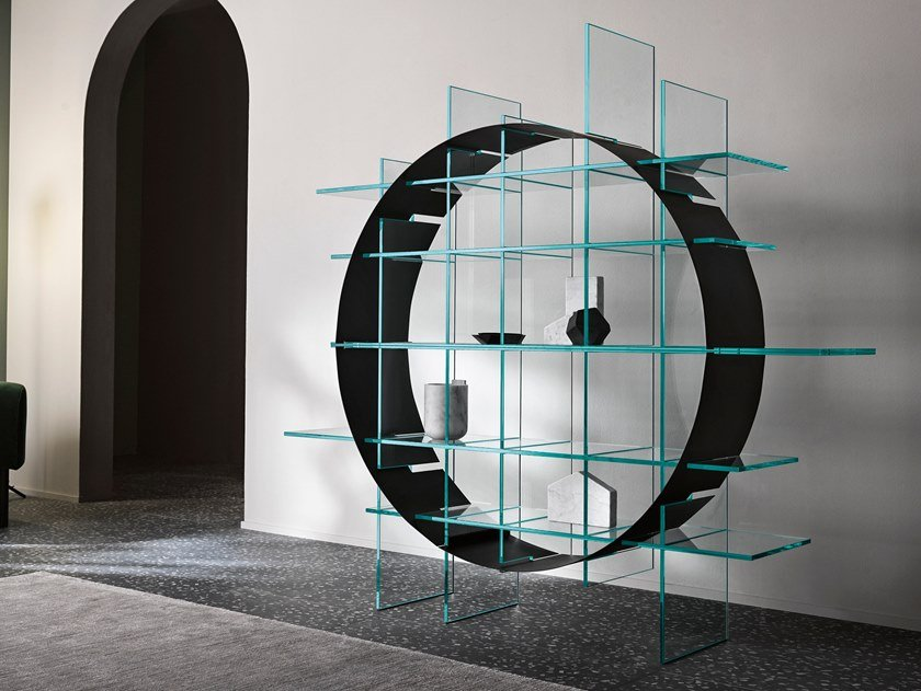 Freestanding double-sided plate and glass bookcase PARADIGMA by Tonelli Design