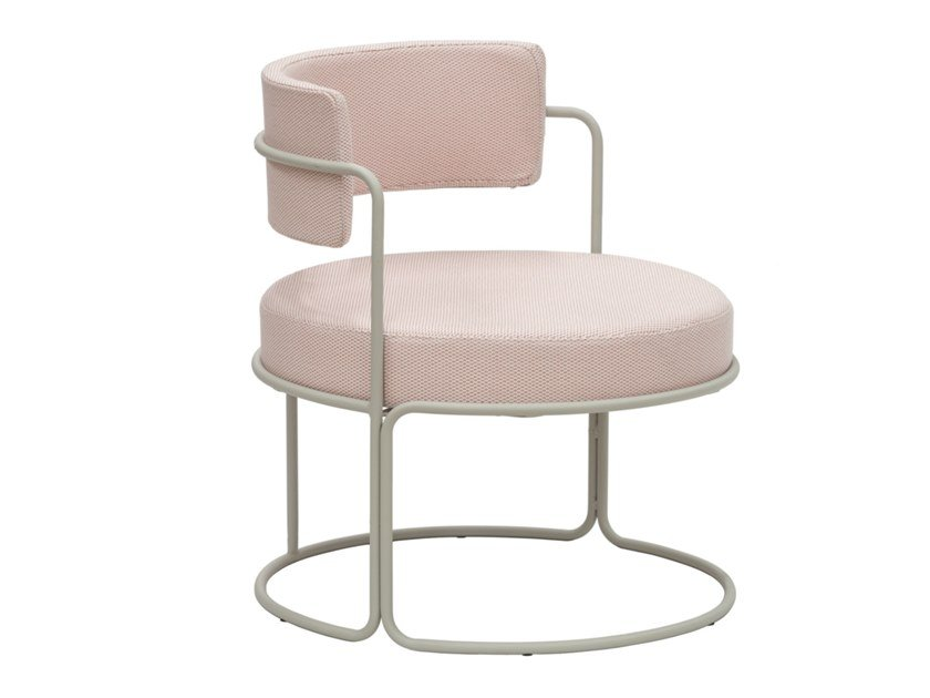Garden upholstered powder coated steel easy chair with armrests PARADISO | Easy chair by iSimar