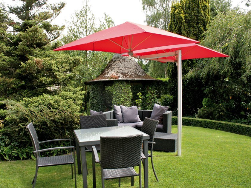 Double adjustable offset Anodized aluminium Garden umbrella PARAFLEX DUO | Square Garden umbrella by Umbrosa