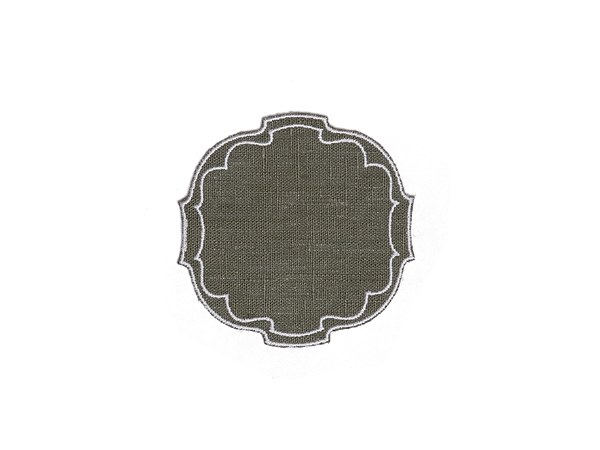 Linen drink coaster PARENTESI OVAL | Drink coaster by La Gallina Matta