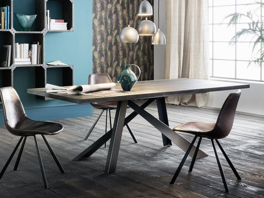 Rectangular spruce dining table PARIGI ABETE + METAL by AltaCorte