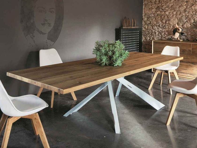 Rectangular oak dining table PARIGI ROVERE + METAL by AltaCorte