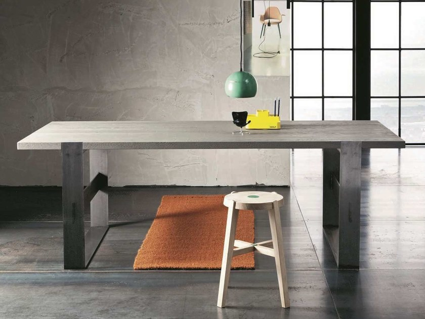 Rectangular oak living room table PARIGI + SUPER IRON by AltaCorte