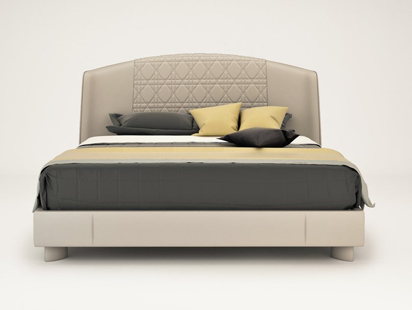 Double bed with upholstered headboard PARIS | Double bed by HUGUES CHEVALIER