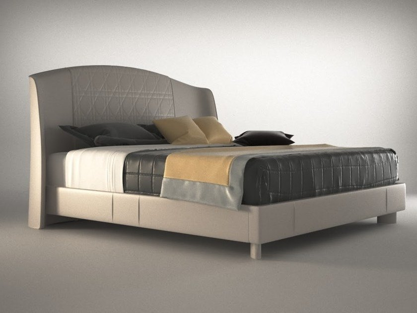 Double bed with upholstered headboard PARIS   Double bed by HUGUES CHEVALIER