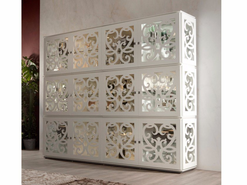 Wood and glass highboard PARIS | Highboard by Tonin Casa