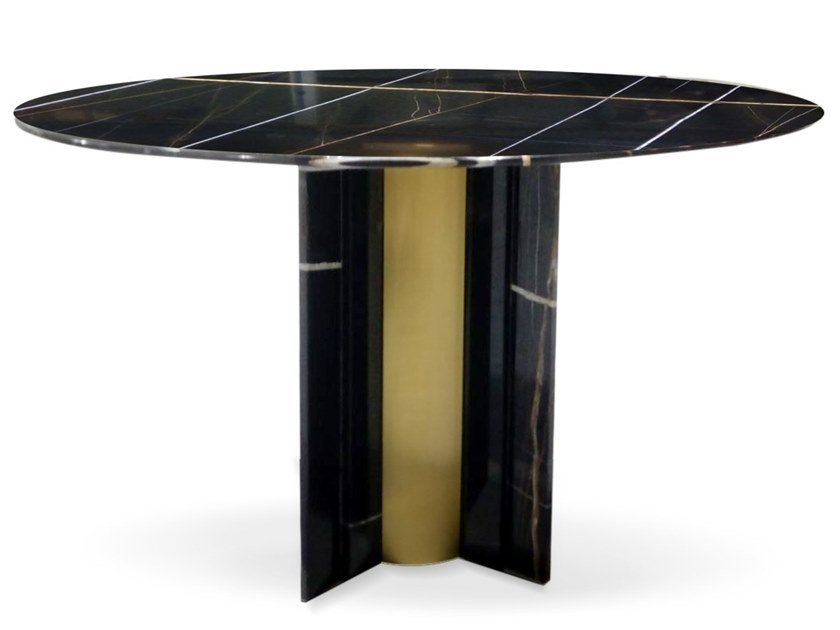 Round Sahara Noir marble table PARIS by KOKET