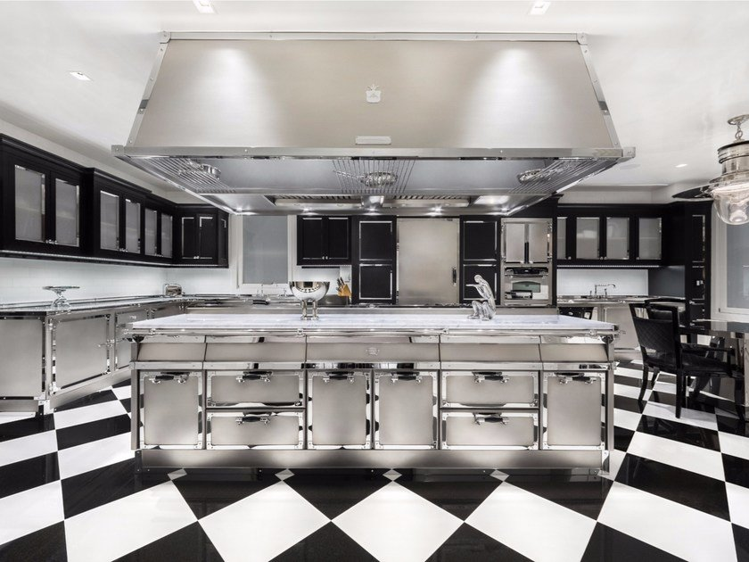 Steel kitchen with island PARK AVENUE By Officine Gullo