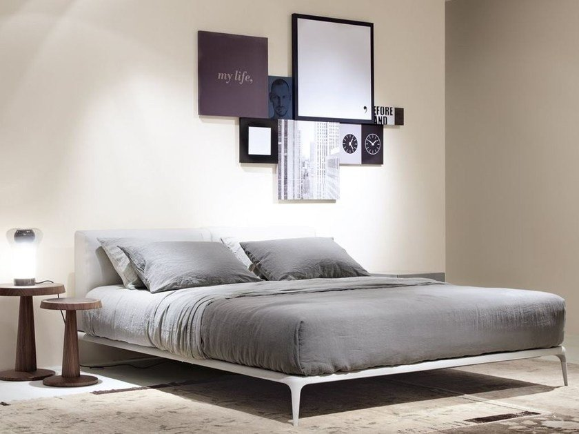 Fabric double bed with upholstered headboard PARK | Fabric bed by poliform