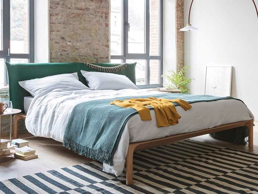 Double bed with upholstered headboard PARK by Novamobili