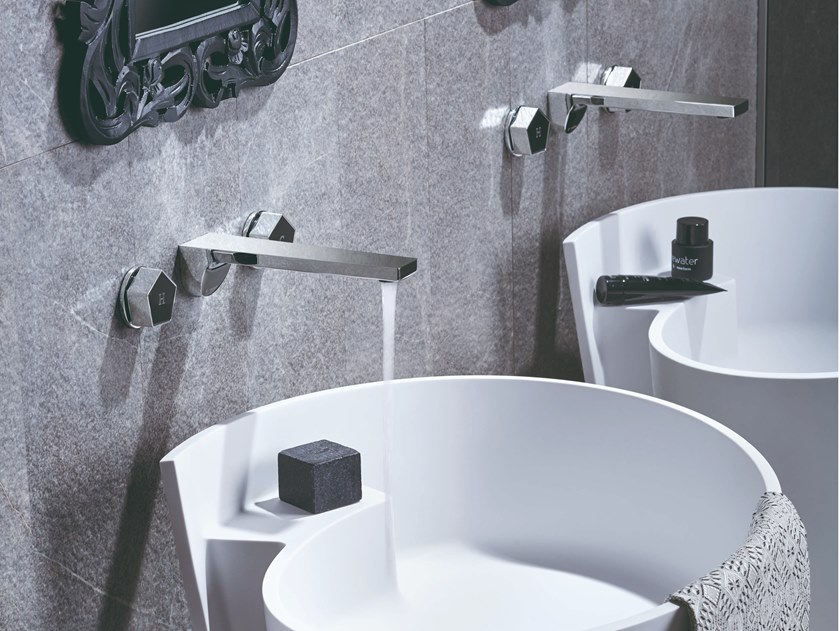 3 hole wall-mounted washbasin tap PARK | 3 hole washbasin tap by newform