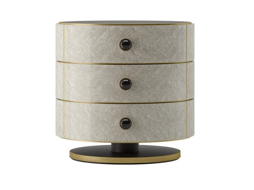 Round wooden bedside table with drawers PARMA | Bedside table by FRATO