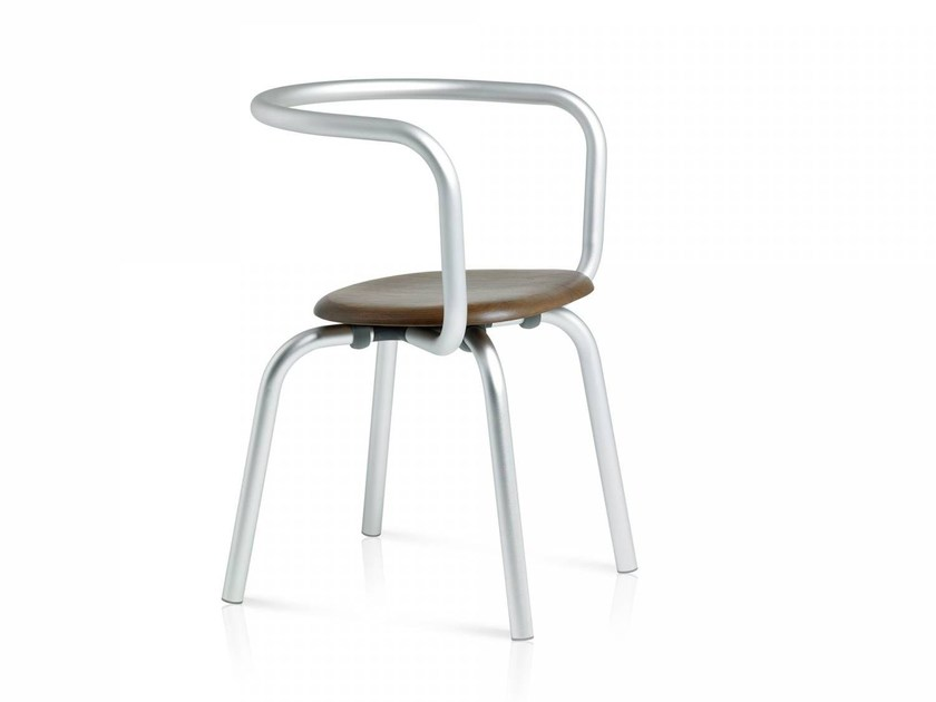 Stackable aluminium and wood chair PARRISH | Aluminium and wood chair by Emeco