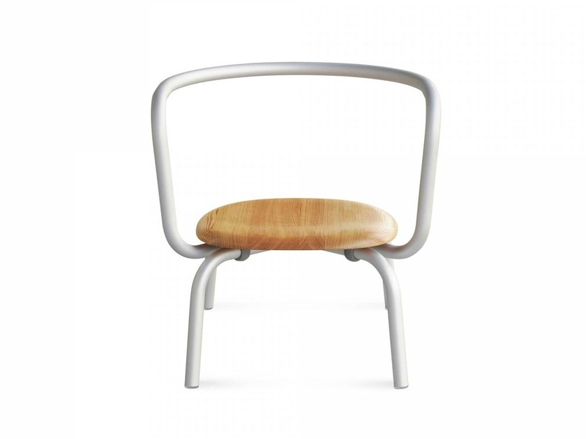 Stackable aluminium and wood easy chair PARRISH | Aluminium and wood easy chair by Emeco
