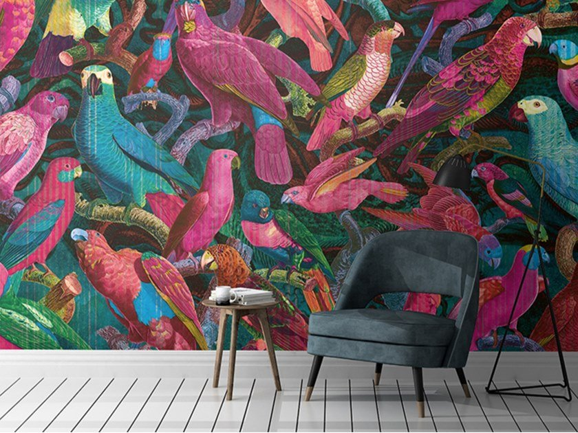 Ecological Tropical nonwoven wallpaper PARROT IMPERIALIS by QUINSAÏ