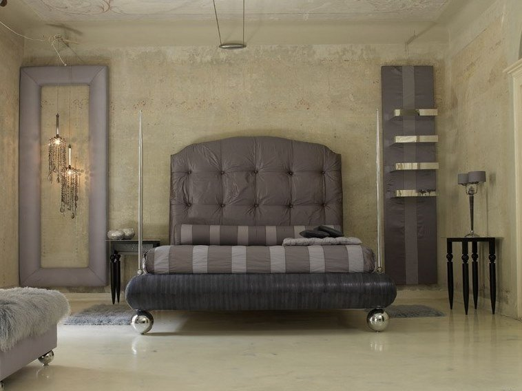 Fabric bed double bed with upholstered headboard PASCIA by Scandal