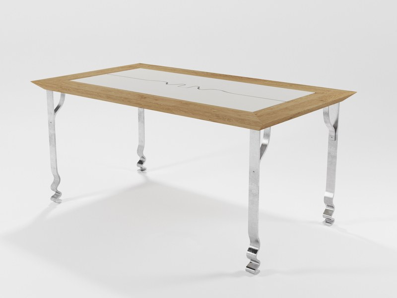 Table in solid iron blade and oak PASHMINA by Barel