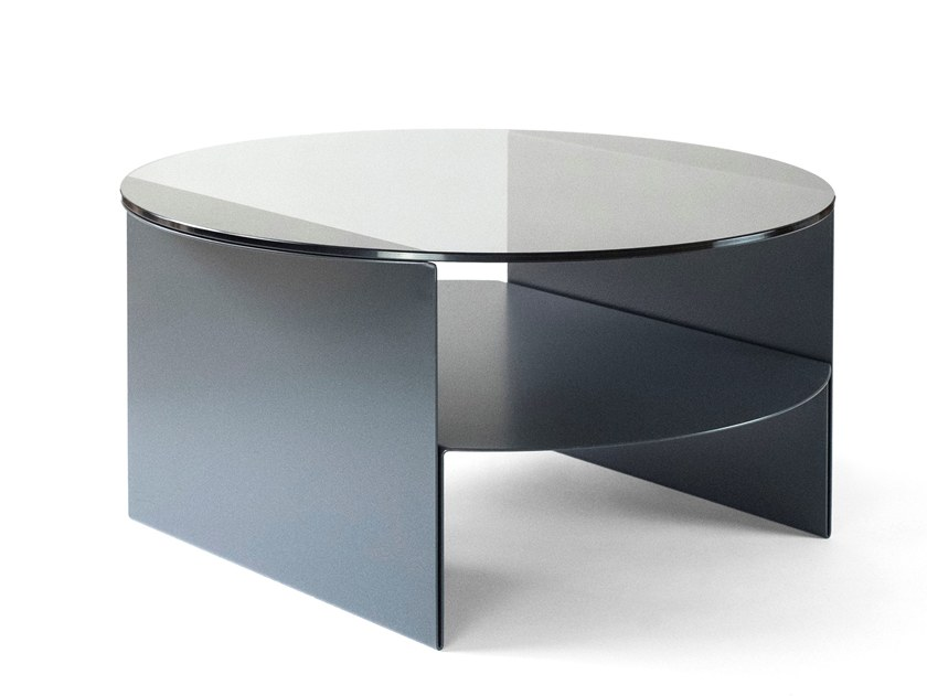 Round plate coffee table with integrated magazine rack PASSAGE | Glass coffee table by Caussa