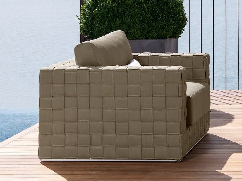 Upholstered garden armchair with armrests PATCH | Garden armchair by Talenti