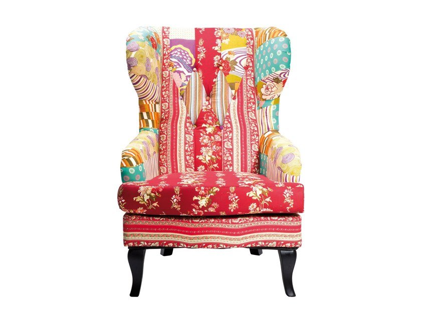 Wing high-back fabric armchair PATCHWORK | Armchair by KARE-DESIGN