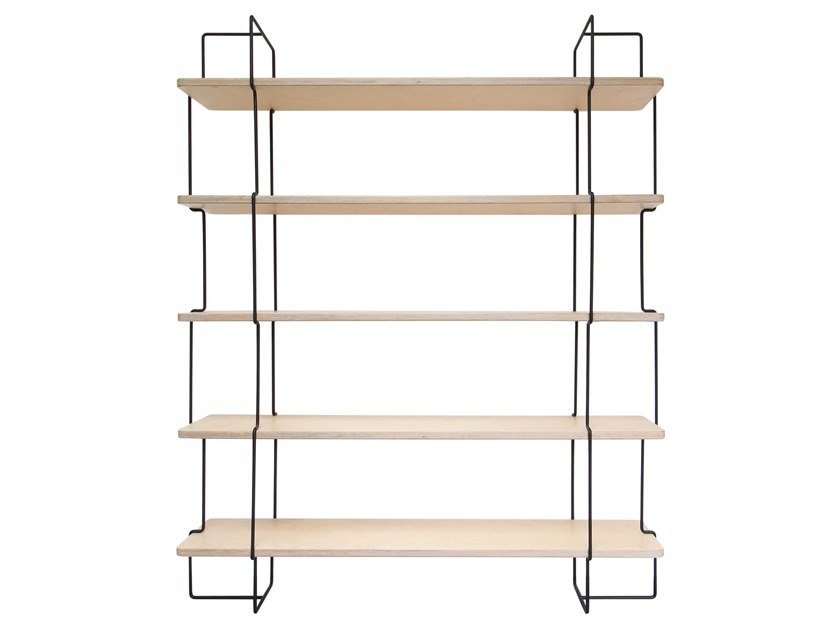 Open wall-mounted steel and wood bookcase PAULINE by Compagnie